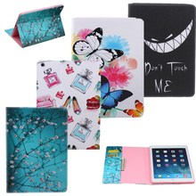 POP Flower Tree Butterfly Colorful PU Leather Cover For Apple iPad Air 2 Case For iPad 6 Wallet Kickstand Card Slots Tablet Case