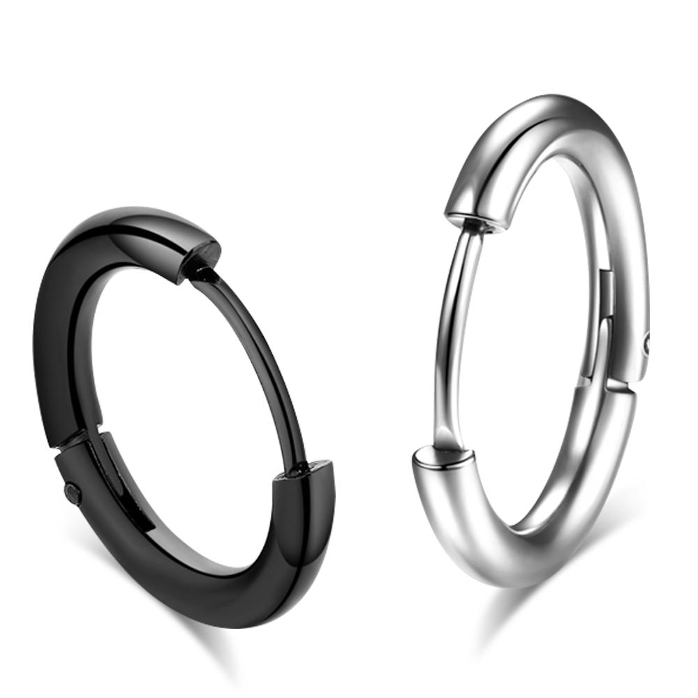 Black Hoop Stud Earrings Stainless Steel Men Women Unisex Round Cool Cute Unique
