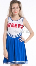 FREE SHIPPING LJ-003 cheerleader costume CHEERLEADER FANCY DRESS OUTFIT WOMENS SPORTS TEAM UNIFORM