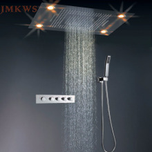 JMKWS LED Big Shower Head Set Thermostat Rain Curtain Showerhead Light Sprayer Waterfall Faucet Bathroom Fixtures Modern Ceiling(China)