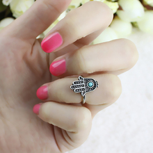 2015 hot sell Good Idea Retro Luck Hand Rings Silver Hand Of Fatima Hamsa With Evil Eye 56M4