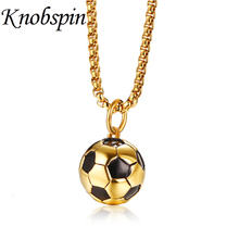 "Buy Men's Stainless Steel Football Pendant Necklace Gold Color Soccer Ball Necklace & Pendant Punk Rock Jewelry Long Chain 24"" kolye for $9.77 in AliExpress store"