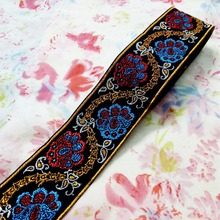 5cm 50mm 2' red Turquoise blue orange waved flower costume pet collar national jacquard woven ribbon laciness embroidery webbing