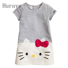 Hurave Cute Summer Dress Kids Clothes CAT Clothes Fashion Pattern Cartoon Children Short Sleeve Casual Dress Infantis Girl(China)