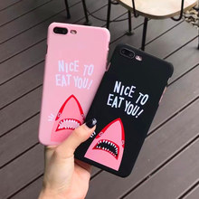 Funny Shark Cartoon Matte Phone Case Coque For iphone 8 8plus 7plus 6s plus Fashion Brand Letter Hard Back Cover Protective Case(China)