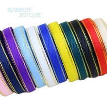 (10 yards/lot) Gold Edge Grosgrain Ribbon Wholesale Gift Wrapping Christmas ribbons