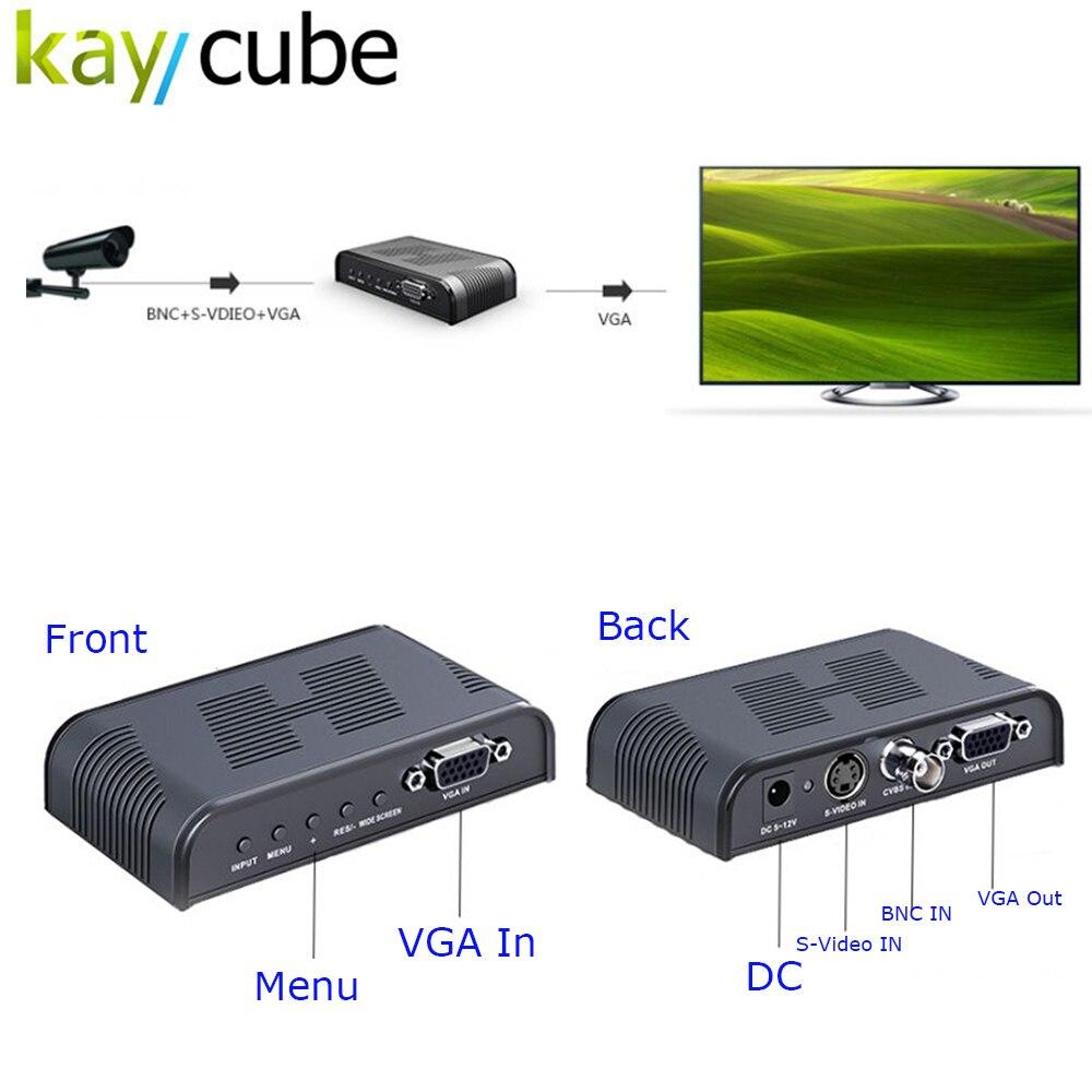 Kaycube Ultra HD 1080P BNC + S - Video to VGA AV Adapter for Computer HDTV Projector ( AC 100 - 240V )   BLACK<br>