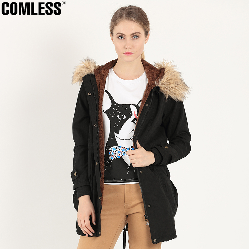 COMLESS Womens Fashion Jacket Long Style Zip Up Big Pockets Parka New Autumn Winter Hoodied with Fake Fur Lining Warm Coat PlusОдежда и ак�е��уары<br><br><br>Aliexpress