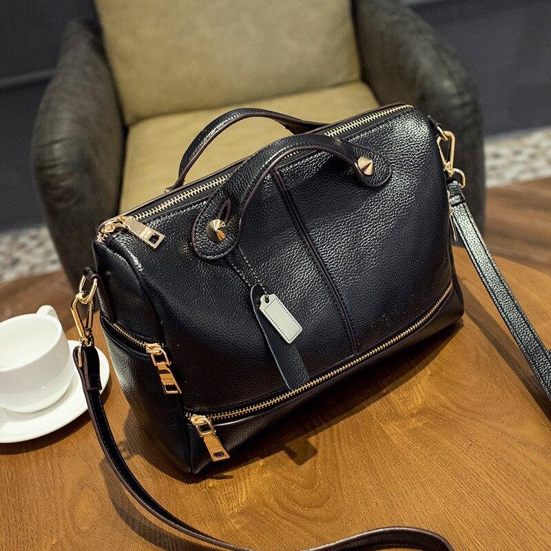 Famous Brands Boston Womens Genuine Leather Handbags European and American Style Women Shoulder Crossbody Pillow Bag Bolsas<br>