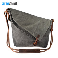 Aresland women messenger bags canvas Casual Crazy Horse Leather Crossbody Bags women's bags Shouder Bag Ladies Bolsa Feminina(China)