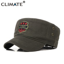 CLIMATE Men Army Fans Green Cool Military Fans Caps Cool Men Adult One Size Adjustable Red Stars Army Cool Flat Top Hat Caps