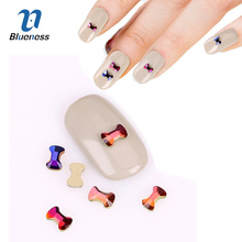 10Pcs/Lot Rhinestones For 3D Nail Art Decoration Flat Shaped Bow Glass Flame Colorful Stones For DIY Nails Accessories PJ615(China)