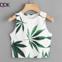 Buy DIDK Leaf Print Crop Casual Tank Top 2018 New Arrival Tropical Woman Clothing Ladies Multicolor Round Neck Crop Vest for $7.98 in AliExpress store