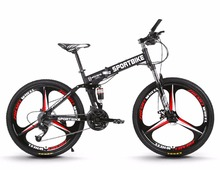 26-inch folding mountain bike 21/24/27 speed one-spoke wheel group folding speed variable male and female students bicycle(China)