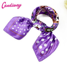 2017 Office Lady Pattern Square Scarves Imitated Women Small Silk Scarf Shawl Bandana NeckerChief Silk Scarf Luxury Brand 60cm
