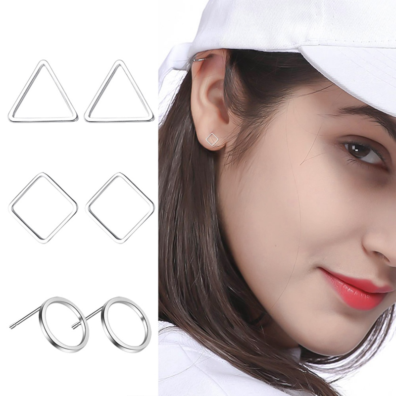 Simple Women Girl Metal Silver Round Circle Geometric Ear Studs Earrings Elegant Party Earring Jewelry