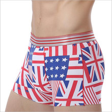 Free shipping brand men underwear comfortable stretch ice silk boxers Novelty American Flag designer men's boxer short