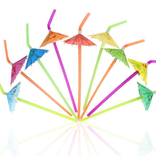 TOMNK 120Pcs Cocktail Umbrella Straws Disposable Flexible Drinking Straws Plastic Straws, for Halloween Christmas Party, Wedding(China)