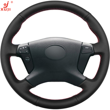 XUJI Black Leather DIY Hand-stitched Car Steering Wheel Cover for Toyota Avensis 2003-2007