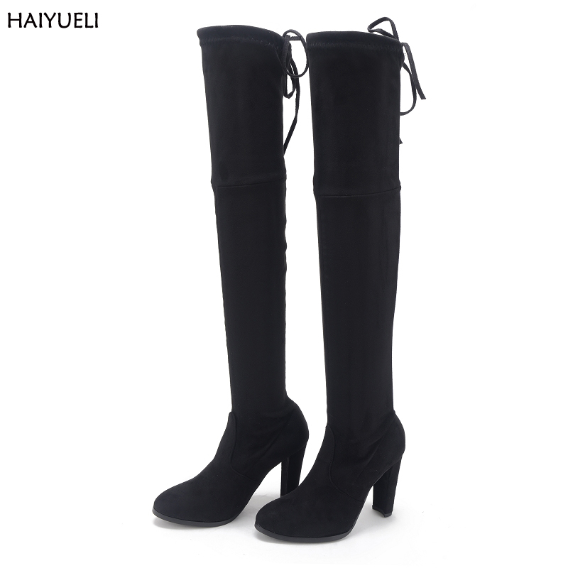 Size 41 Womens High Heel Boots Sexy Black Knee High Boots Classic Thigh High Boots Autumn Winter Over The Knee Boots 9cm Heel<br>