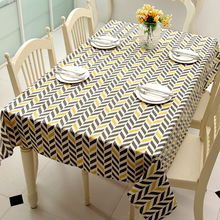 Polyester / Cotton Tablecloth Like Linen Table Cover Mat Without Geometric Lines Trapezoid Printing Desk Cloth(China)