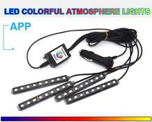 Car LED Strip Light bluetooth aux Phone APP control car styling LED ambient lighting automotive interior light for Android iOS