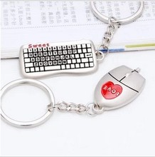 Free ship!1lot=30pair!Creative keyboard and mouse  metal  Couple Fashion creative  keychain/wedding gift/Binding Combs & Spines