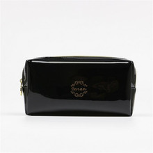 Quality PU leather Zipper Pillow Shaped Brand Cosmetic Bag Make Up Toiletry Bag Cosmetic Pouch Black trousse de maquillage(China)