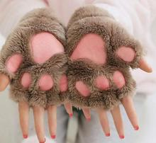 Halloween Christmas stage performance Cosplay cat bear Paw Claw Glove women child winter fluffy plush Glove Mittens party favor