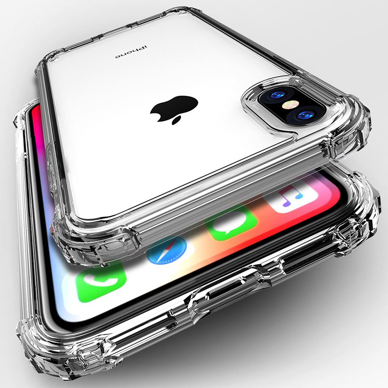 Luxury Shockproof Bumper Transparent Silicone Phone Case For iPhone X XS XR XS Max 8 7 6 6S Plus Clear protection Back Cover(China)