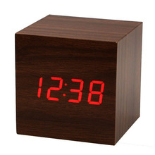 SZS Hot Wood Cube LED Alarm Control Digital Desk Clock Wooden Style Room Temperature Brown wood Red led