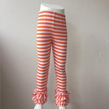 children fashion stripe design trousers toddler icing pants baby fall ruffle pants girls(China)