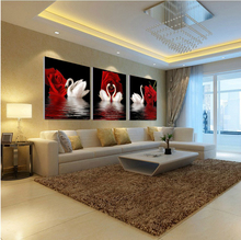 3pcs(no frame)Art rose pictures canvas oil painting poster living room on modular paintings on the wall swan wall pictures