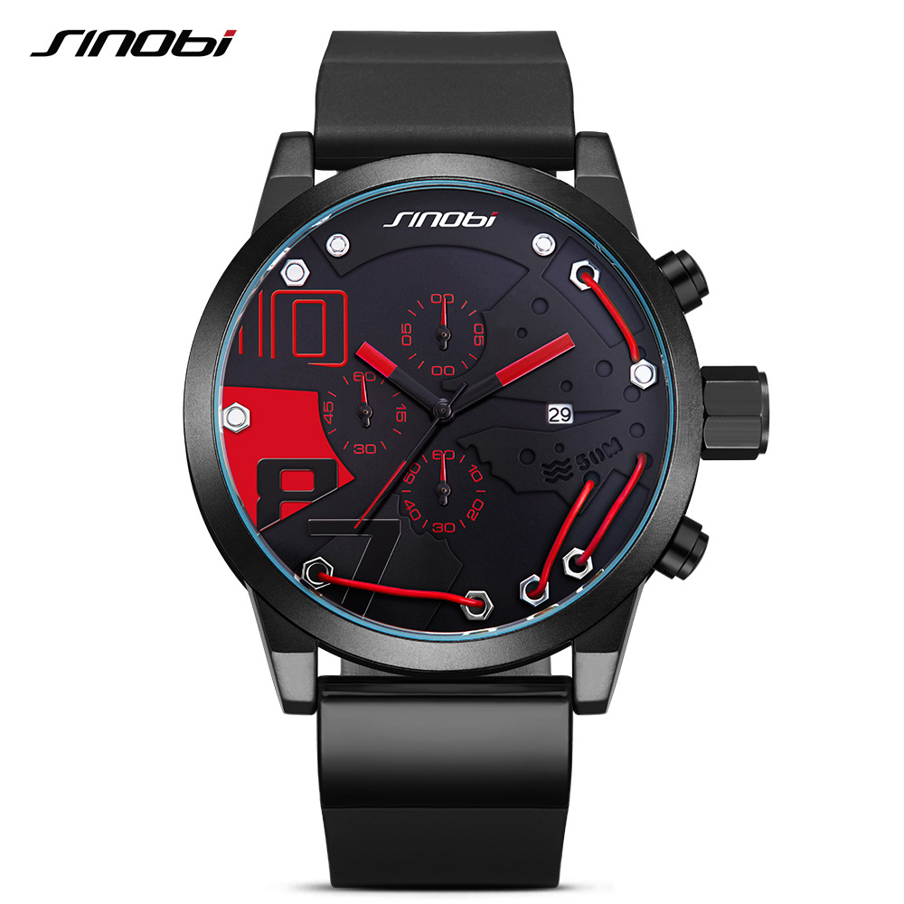 2017 Sinobi Fahion Men Watches Top Brand Luxury Full Steel Quartz Clock Racing Sport Chronograph Watch Male Relogio Masculino