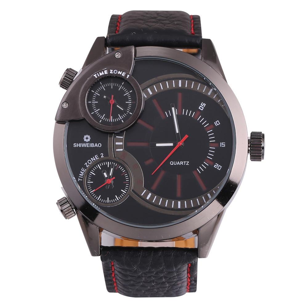 top luxury brand shiweibao three time zones watches for men analog quartz men watch black strap big case wristwatches clock man free shipping wholesale (2)