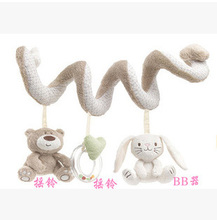 Baby bed rattles toys cribs hanging toys Baby Infant bear and rabbit Pram Charm Music Toy Bed Stroller Hang Bell Rattle(China)