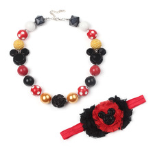 Resin Mickey Minnie Chunky Girls Necklace Hand Made Kids Hairband Yiwu Market Jewelry Accessories Set Child Birthday Gift WX14(China)