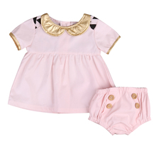Newborns 2017 Summer Cotton Baby Girl Clothing Sets  Toddler  Casual Tops Shirt Dress+Shorts Pants 2pcs Outfits Set