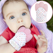 1 PIECE Silicone Baby Teether Glove Natural Thumb Sound Teething Chewable Nursing Mordedor Bite Teething Mitt Oral Care(China)
