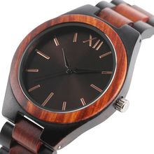 Dark Brown/Sapphire Blue Face Dial Watches Full Wooden Women Analog Wrist Watch Men Nature Wood Creative Clock 2017 New Gift(China)