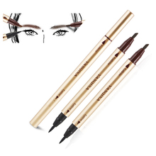 1 PCS Beauty Women Double-use long lasting Liquid Eyeliner Eyebrow coffee eyebrow Pencil Make Up Waterproof Tool for eye makeup(China)