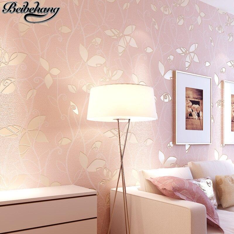 beibehang papel de parede 3D Leaves Pastoral Wallpapers Warm pink bedrooms Bedroom full floor sofa TV background wall paper<br>