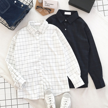 Buy 2017 Spring New Korean College Style Fresh Simple Plaid Match Long Shirt Thickening Long-Sleeved Shirt for $12.98 in AliExpress store