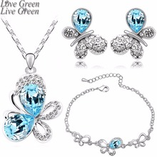 hotsales butterfly locket fashion 18KGP Austrian Crystal Butterfly Pendant necklace earrings bracelet Jewelry Sets 4090(China)