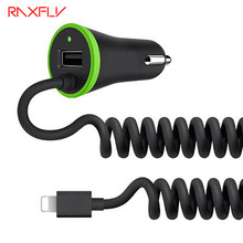 RAXFLY Mini USB Car Charger Total 3.4A Micro USB + Mini Type C + USB Cable For Huawei Mate 9 Xiaomi Mi5 5s iPhone 6 7 5