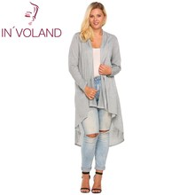 IN'VOLAND Women's Cardigan Jacket Oversized Autumn Casual Long Sleeve Open Front Draped Irregular Long Coat Sweater Plus Size(China)