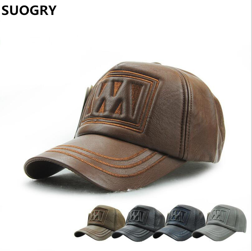 [SUOGRY] New Winter Fashion Solid Colors PU Leather Caps Men 2016 Baseball Cap<br><br>Aliexpress
