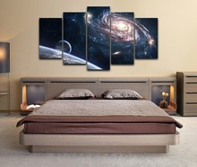 5 Pieces HD Print Painting Outer Space Planet Modular Picture For Modern Decorative Bedroom Living Room Home Wall Art Decor(China)