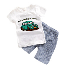 2PCS Boys Clothes Summer 2017 New Cotton Boys Clothing Set Print Kids Boy Clothes With Car Short Sleeve Boy shorts+t shirt T6375
