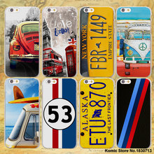 new fashion License Plate LONDON BUS summer car hard transparent clear Cover Case for Apple iPhone 7 6 6s Plus SE 4s 5 5s 5c(China)